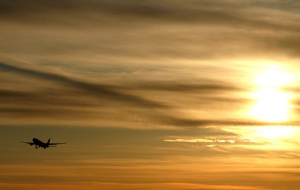 airplane at sunset