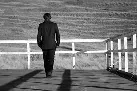 man going away